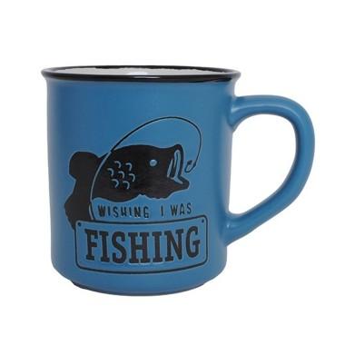 Wish I Was Fishing Manly Mug