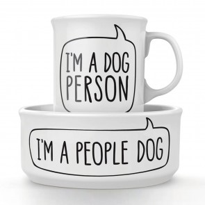 Dog Person Ceramic Mug and Pet Bowl Set