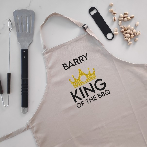 King of The BBQ - Personalised Apron Beige - 1
