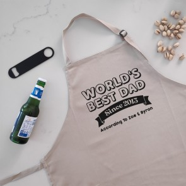 World's Best Dad - Personalised Apron Beige - 1