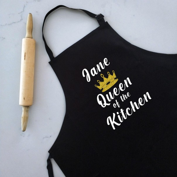 Queen of The Kitchen - Personalised Apron Black - 1