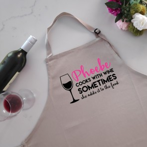 Cook With Wine - Personalised Apron Beige - 1