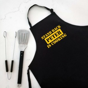 Stand Back Man Cooking - Personalised Apron Black - 1