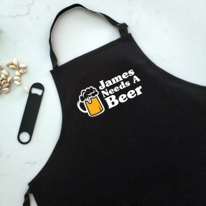 Man Needs A Beer - Black Personalised Apron - 1