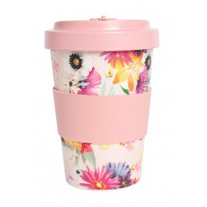 Eco Friendly Bamboo Travel Cup - Pink Flower - 1