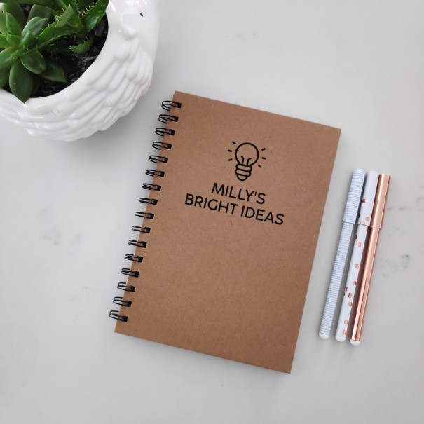 Bright Ideas - Personalised Hardcover Spiral Notebook - 1