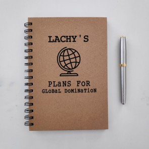 Global Domination - Personalised Hardcover Spiral Notebook - 1