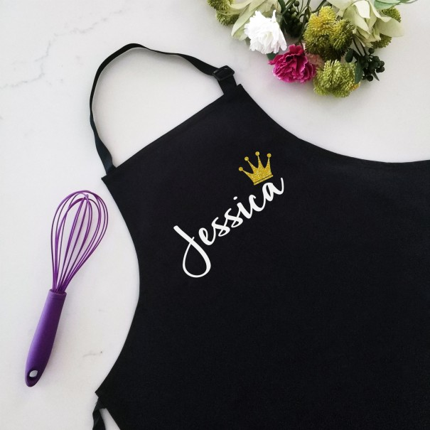 Personalised Black Apron Name with Crown - 1