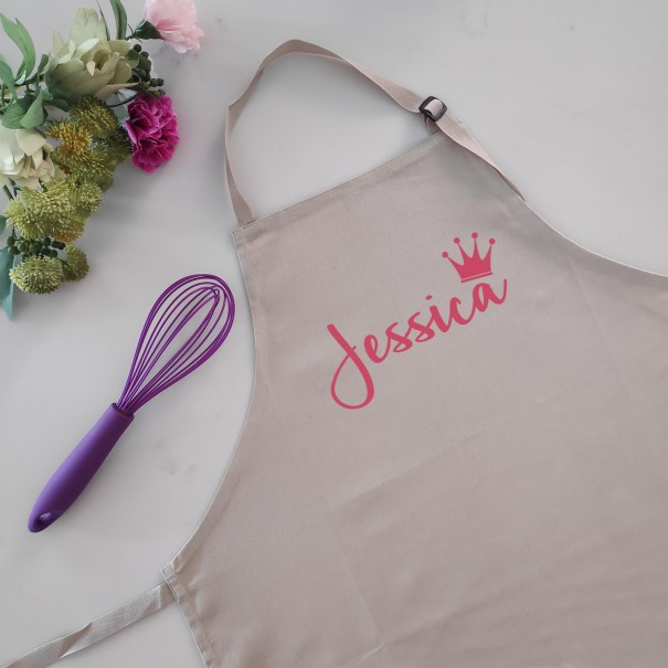 Personalised Beige Apron Name with Crown - 1