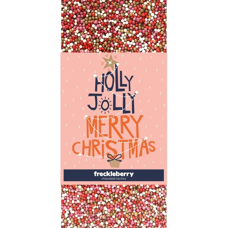 Holly Jolly Merry Christmas Freckles Chocolate Bar - 1