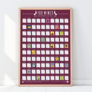 100 Wines Scratch Off Bucket List Poster by Gift Republic