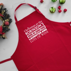 Personalised Christmas Apron - Good Food, Laughter & Lots of Wine - 1