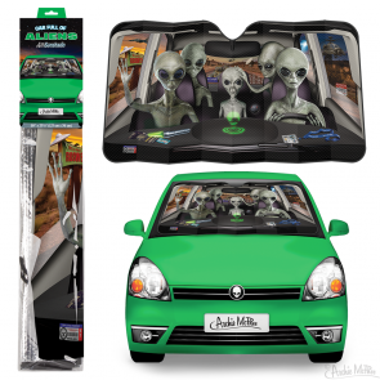 Car Full Of Aliens Auto Sunshade - 1