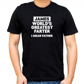 Personalised World's Greatest Farter Black T-Shirt - 1