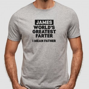 Personalised World's Greatest Farter Grey T-Shirt - 1