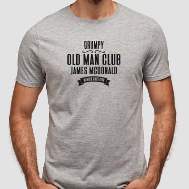Personalised Grumpy Old Man Club Grey T-Shirt - 1