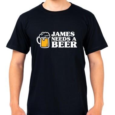 Personalised Man Needs A Beer Black T-Shirt - 1