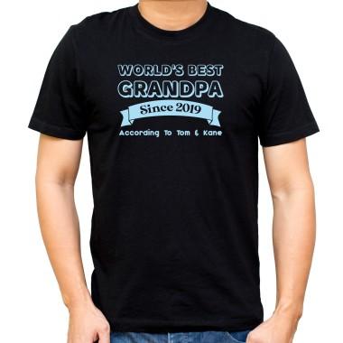 Personalised World's Best Grandpa Black T-Shirt - 1