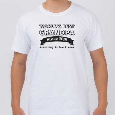 Personalised World's Best Grandpa White T-Shirt - 1