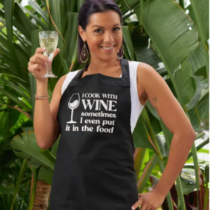 I Cook with Wine Apron - 1