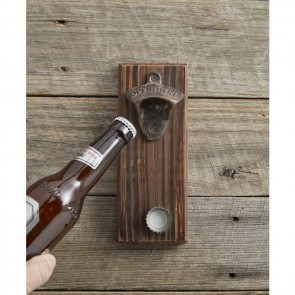 Wooden Wall Mounted Open Here Bottle Opener with Magnetic Cap Catcher - 1