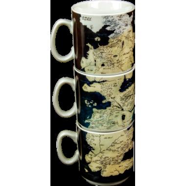Game of Thrones - Mug Set of 3 Westeros Map - 1
