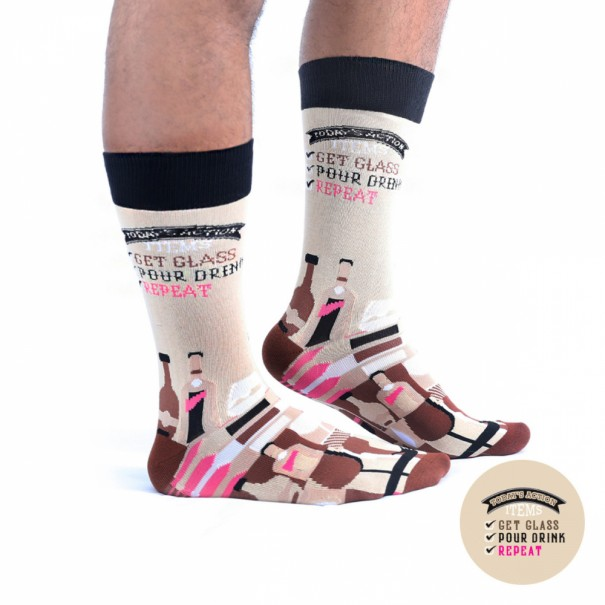 Get Glass, Pour Drink, Repeat - Wise Men Socks - 1
