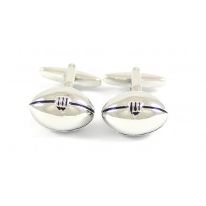 Silver Rugby Ball Cufflinks with Box