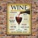 Wine From Around The World Retro Tin Sign