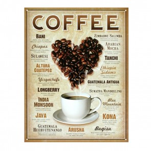Heart Coffee Retro Tin Sign