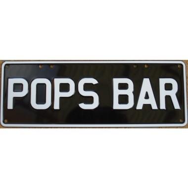 Pop's Bar Novelty Number Plate