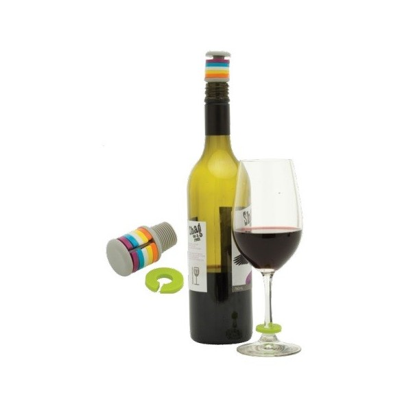 Stopper and Wine Charm Set