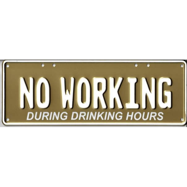 No Working During Drinking Hour Novelty Number Plate