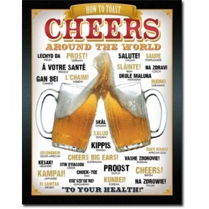 How To Toast Cheers Around the World Retro Tin Sign
