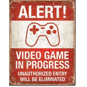 Alert Video Games Retro Tin Sign