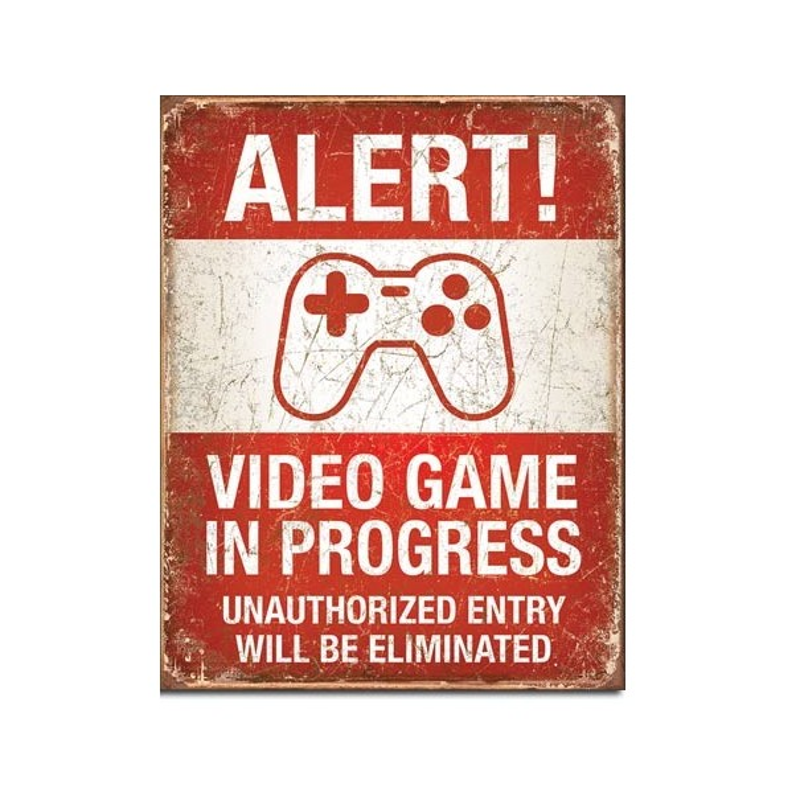 Alert Video Games Retro Tin Sign