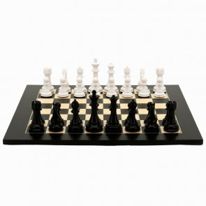 Black and White Weighted Chess Set by Dal Rossi Italy