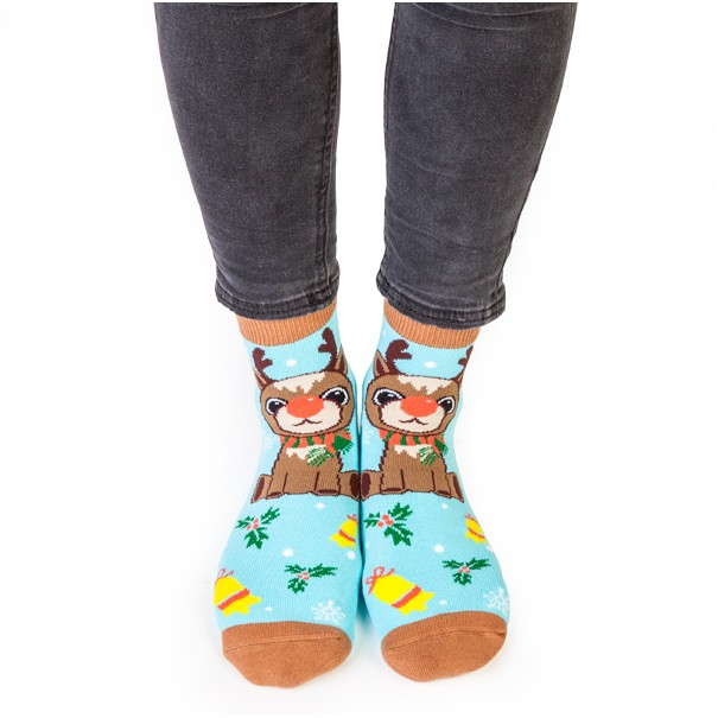 Christmas Reindeer Feet Speak Socks - 1