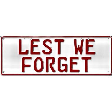 Lest We Forget Novelty Number Plate - 1