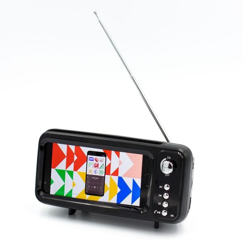 Retro Mini TV Mobile Phone Holder with Bluetooth Speaker and FM Radio - 1