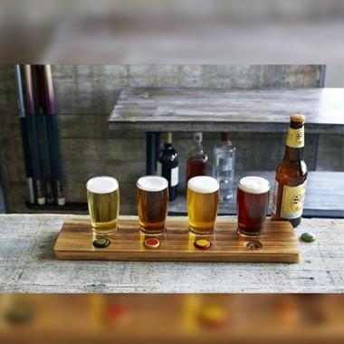 Beer Tasting Paddle with 4 Taster Glasses Flight Set - 1