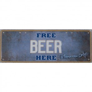 Free Beer Here Number Plate